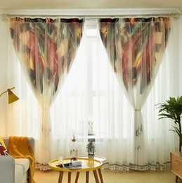 $enCountryForm.capitalKeyWord NZ - Elegant Double Curtain Tulle Cloth Curtains for Living Room Bedroom Kitchen Feather Print Voile Sheer Curtains for Window Tulle