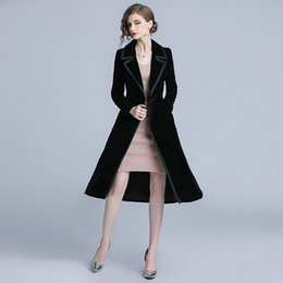 $enCountryForm.capitalKeyWord Australia - Black Velour Slim Tunic Long Trench Coat Elegant Vintage Office Party Fashion Casual Outerwear 2019 Spring Clothing T4190610