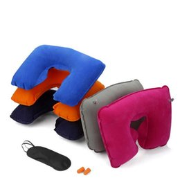 airplane sleeping pillow UK - Inflatable U Shape Pillow Folding Airplane inflatable Neck Pillow Portable Office Sleep air cushion pillows Repeatable Travel Pillows CLS526