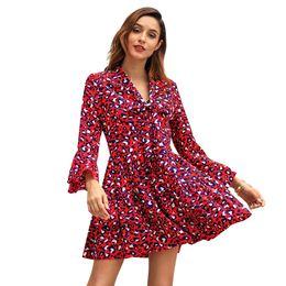 70c67430d 2019 nuevo estilo Vestidos estampados para mujer - Camisa de manga larga  con cuello redondo hasta la rodilla Vestido mini S-XL C3058 (sin cinturón)