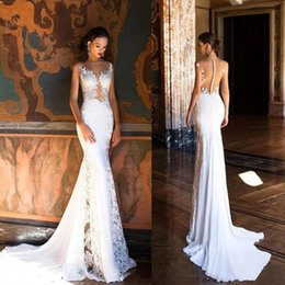 Beach Wedding Dresses Pearls Australia - Designer Milla Nova Mermaid Beach Boho Wedding Dresses For Bride 2019 Sexy Sheer Neck Illusion Back Lace Pearls Beads Bridal Gowns Plus Size