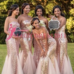 Strapless Sequin Red Dress Australia - New Cheap Tulle Bridesmaid Dresses Rose Gold Sequins On Top Strapless Sheath Junior Bridesmaid Dresses Cheap for sale Wedding Guest Dress