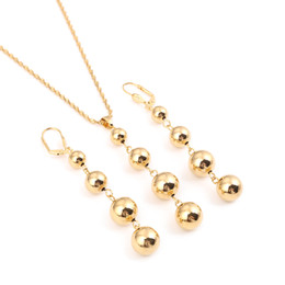 Golden Ball Jewelry Australia - Bead Necklace Earrings for Women Girls Trendy Charm Jewelry Set Ball Necklace Africa Arabia Nigeria Gifts