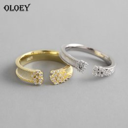 Cluster Rings For Womens Australia - OLOEY 100% Pure 925 Sterling Silver Adjustable Ring Korean Sparkling Zircon Rings for Womens Jewelry joyas de plata 925 YMR639