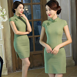 1734930f5c Women s Short Cheongsam Traditional Chinese Dress Women Sexy Modern Qipao  Lattice Cotton Oriental Style Dresses Robe S-XXL