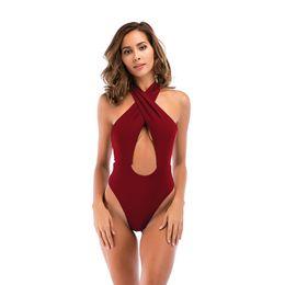 e875885c1ed Sexy One Piece Swimwear High Waist Swimsuit Push Up Swimwear Women Bodysuit  Bandage Beach Wear Bathing Suit Monokini Swimsuit