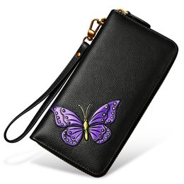 Woman Wallets Butterfly Australia - Fashion Ladies Genuine Leather Wallet Women Rose Flower &butterfly Wallets Coin Purse Female Clutch Cowhide Long Wallet