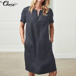 Sundress Short Sleeves Australia - Summer Linen Dress 2019 Celmia Women Tunic Top Short Sleeve Shirt Button Female Vintage Casual Sundress Sarafans Vestidos S-5XL Q190423