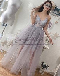 One hand peplum prOm dresses online shopping - Real Photo Long Prom Dresses jewel neck tulle lace Ruffles see through custom made Evening Party Dress For Graduation cocktail party
