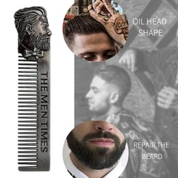 Back Hair Men Australia - Stainless steel beard comb beard style big back head aircraft hair comb men retro oil head shop new style