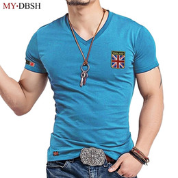slim v neck t shirt Australia - Mydbsh Brand Fashion V Neck Men Shirt Casual Elastic Cotton Male Slim Fit Tshirt Man Embroidery England Flag T-shirts Clothing C19041702