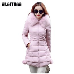 women gray hair 2019 - M-3XL Winter New Ladies Long Coat with Pocket Zipper Hair Ball 2018 Slim Large Fur Collar Warm Women Cotton Jacket cheap