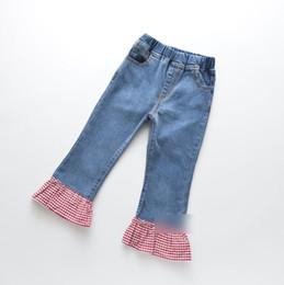 $enCountryForm.capitalKeyWord Australia - Girls jeans kids cowboy splicing plaid flare pants children double pocket lace embroidery denim trouser 2019 autumn children clothing F8249