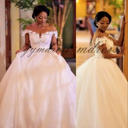 plus size off shoulder wedding dresses Australia - South African Ball Gown Wedding Dresses Off the Shoulder Lace Appliques Plus Size Beach Bridal Gowns Vestidos De Novia