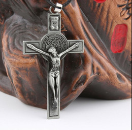 Rope Pendant Crosses Wholesale Australia - Wholesale Hot Sale Mens Alloy Jesus Cross Pendant Necklaces Leather rope Charm Popular boys cool Jewelry gifts Fashion Accessories