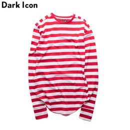 kpop t shirts UK - Striped Hip Hop T-shirt Men Long Sleeve Wrist Hole 2019 Spring Basic Extended Urban Tshirt Men Curved Hem Kpop Men's Tee Shirt SH190705