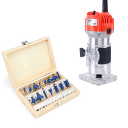 slotting cutters Australia - Electric Wood Trimmer Wood Router + 15pcs 1 4 shank Router Bit Milling Cutter Power Tools Set For Carving Slotting Trimming