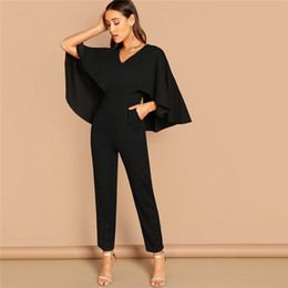 $enCountryForm.capitalKeyWord Australia - Modern Lady Going Out Party Black Elegant V-neck Solid Cape Long Sleeve Cloak Sleeve Jumpsuit Winter Women Jumpsuits