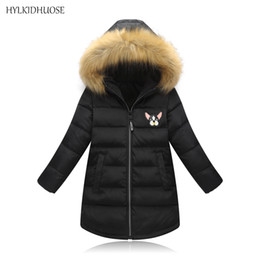 Girls Winter Parkas Australia - HYLKIDHUOSE 2019 Winter Girl Coats Female Children Long Jacket Cartonn Thicken Outdoor Warm Hooded Kid Outerwear Parkas