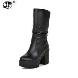 07d1d7193f52 Plus Size 34-46 Women Motorcycle Boots Rubber Sole Square High Heel Shoes  Woman Fur Addable Keep Warm Platform Winter Boots yuj8