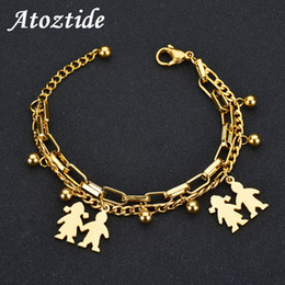 $enCountryForm.capitalKeyWord NZ - Atoztide Cute Double Layers Figure Chain Bracelets For Boy Girl Charm Stainless Steel Round Link Bracelet Friendship Gift