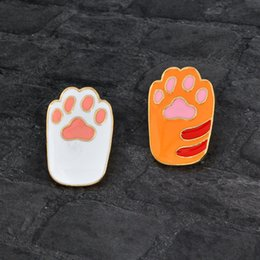 wholesale indian bags UK - DOG Paw Enamel Pin Lapel Badge Jewelry Cat Pet Lover Backpack Metal Decoration Bag Button Broach