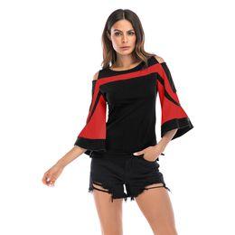 $enCountryForm.capitalKeyWord UK - T-shirt top retro round neck color matching shoulder horn sleeve back zipper fashion sexy European American women's adult clothing P091