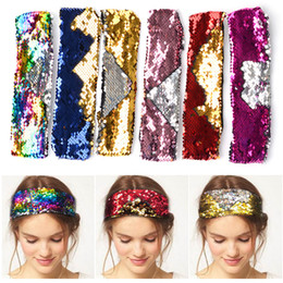 $enCountryForm.capitalKeyWord Australia - Baby Girl Headband Kids Two-sided Sequins hairband tulband Female party patchwork Hair Accessories 11colors for choose