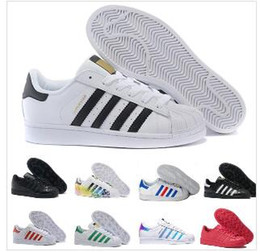Wholesale 2019 Super Star White Hologram Iridescent Junior Superstars 80s Pride Womens Mens Trainers Superstar Casual Shoes Size 36-44 A061