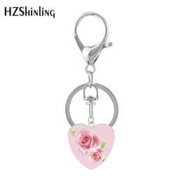 Discount rose keyrings - 2019 New Red Antique Classic Rose Beautiful Flower Art Works Heart Shaped Keyring Glass Pattern Keychain Jewelry