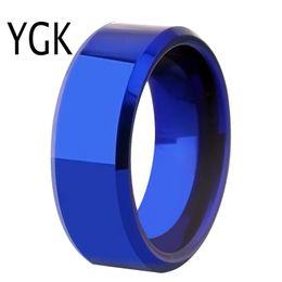 Tungsten Wedding Rings Australia - Drop Shipping Women's Wedding Band Ring Men Classic Blue Bevel Tungsten Ring Engagement Party Ring Gift Present For Women Men J 190515