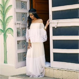 sea bell UK - Romantic White Lace Beach Dress Sweet Slash Necl Long Sleeves Mesh Patchwork A line Floor Length Sea Holidays Casual Long Dresses 2020
