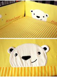 Newborn Bedding Australia - 8Pcs Yellow Crib bumper set for Newborn Lovely Bear Baby padding set Cotton Cot bedding set Quilt Bumper Pillowcase