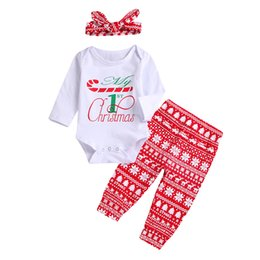 Suit Snowflake online shopping - Retail Newborn Baby Christmas Romper sets Outfits Suits crutch letters top snowflake pants headscarf Jumpsuits Kids tracksuit