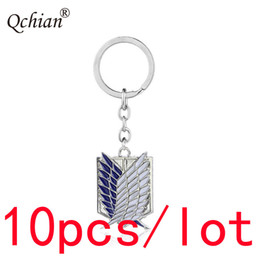 Titan Pendant Australia - 10pcs lot Anime Attack on Titan Metal Decorative Pendant Keychain Car Motorcycle Key Jewelry Backpack Pendant