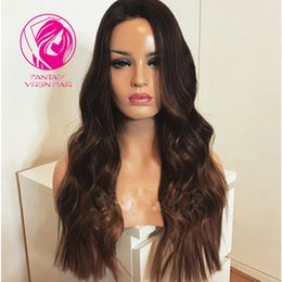 Discount pretty brazilian human hair - Fantasy Free Style Ombre Brown Full Lace Human Hair Wigs Brazilian Remy Hair Pre Plucked Pretty Wavy Full Lace Wig With