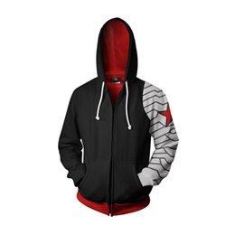 Wholesale men s zip up hoodies online – oversize The Winter Soldier Hoodies Bucky D Printed Sweatshirts Men Adults Zip Up Hooded Jacket Coat