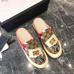 half dragged shoes 2019 - fashion new A lazy person shoes Genuine leather women Casual shoes heavy art embroidery Classic half dragged cheap half