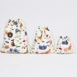 $enCountryForm.capitalKeyWord Australia - Cartoon zoo animal drawstring bag cotton canvas gift bags Storage Bags For Children Storage Candy Bag Jewelry Packaging Pouches