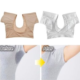 girls bow back shirt NZ - Women Girl Short Sleeve Underwear Vest with Underarm Armpit Sweat Absorbing Pads Sports Running Washable Shields Guards Crop Top