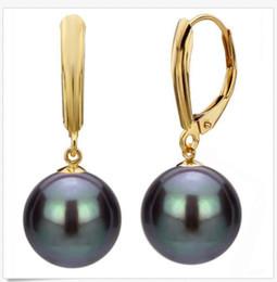 d7eb63b5fb59 12 mm negro perlas redondas de concha de mar del sur 14K GP gancho cuelga  los pendientes AAA +