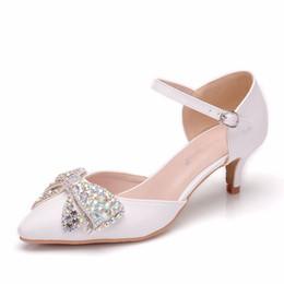 Shoes Women High Heel White Australia - Spring Autumn Women Sandals Sexy White 5CM High Heels Shoes Bow Luxury Rhinestone Wedding Party Jane Shoes