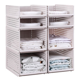 Wholesale storage for clothing resale online - Drawer type Clothes Storage Box Large Plastic Organizers Basket for Clothes Food Layered Wardrobe Kitchen Storage Basket