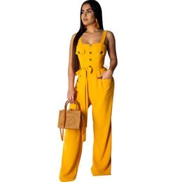 c7d9fe1252 Women summer spaghetti strap high waist suspender trousers romper casual  sleeveless straight jumpsuit overall Wide leg pants