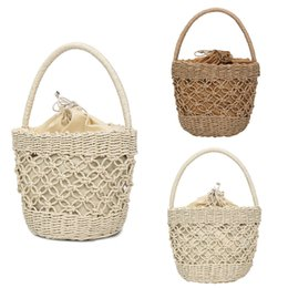wholesale cotton beach totes NZ - xiniu Cotton Straw Bags Women Summer Beach Woven Tote Handbag Bohemia Large Capacity Multi Use Drawstring Hand Bag #0605