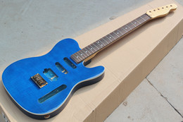 Guitar Neck Part NZ - Factory Custom Blue Electric Guitar Kit(Parts) with Flame Maple Neck,Flame Maple Veneer,Gold Bridge,Semi-finished Guitar,Offer Customized