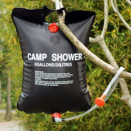 Discount heated camp shower - 20L Water Bag Foldable Solar Energy Heated Camp PVC Shower Bag Outdoor Camping Travel Hiking Climbing BBQ Picnic Water S