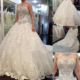 $enCountryForm.capitalKeyWord Australia - 2019 Luxury Wedding Dresses With Halter Swarovski Crystals Beads Backless Ball Gown Chapel Train Lace Bling Ivory Bridal Gowns