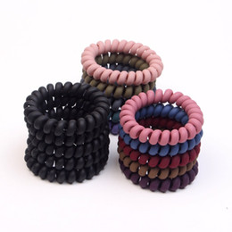 elastic plastic hairbands NZ - Women Girls Frosted Coil Hair Ties Large Hairbands Elastic Hair Rope Rubber Ring Ponytail Holder For Women Girls Thick Hair Accessories WCW8