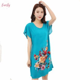 Ladies cotton nightdresses online shopping - Sleepwear Blue Lady Cotton Soft Nightgowns Chinese Style Print Womens Nightdress Night Dress Home Wear Flowers One Size